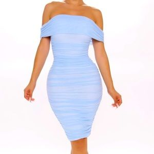 NWT Gorgeous cinderella blue ruched dress
